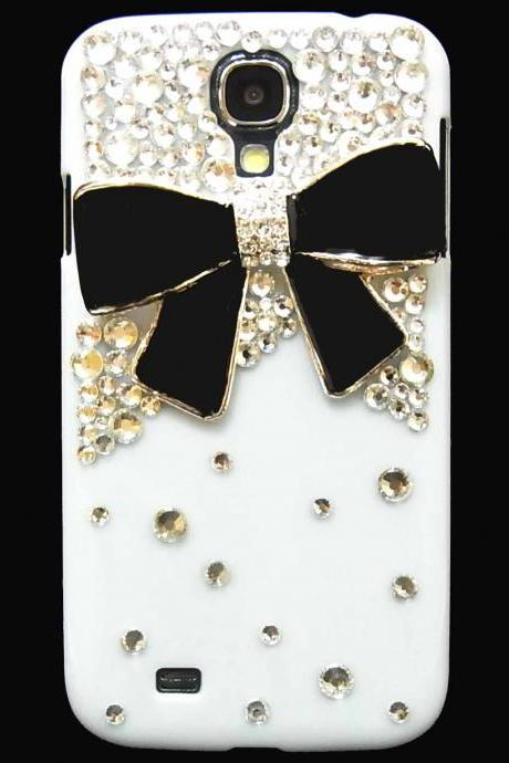 Samsung i9505 Galaxy S4 LTE Case, Samsung i9500 Galaxy S4 case, Crystal White Samsung i9500 Galaxy S4 Case,Bling Crystal Black Bow Samsung i9500 Galaxy S4 Case
