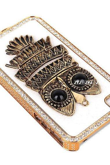 Cute OWL Bling leather 3D crystal colorful girl iphone Case for iPhone cover 4 4G 4S 5 5G Samsung galaxy S3 case 9300 9220 7100