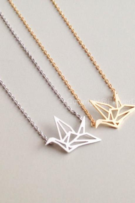 origami crane necklace in Gold