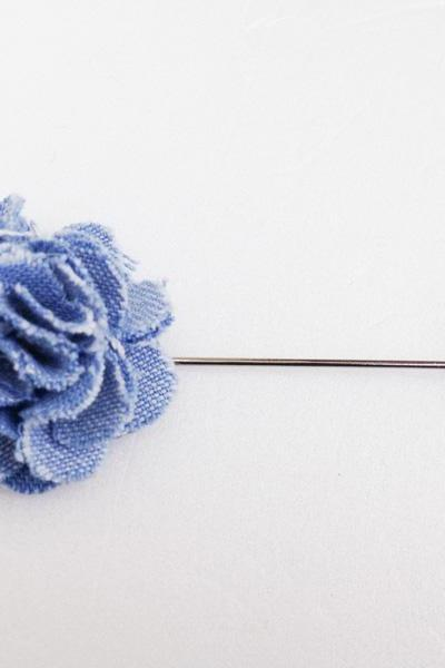 DENIM rose Blue Men's flower Boutonniere/Buttonhole for wedding,Lapel pin,hat pin,tie pin