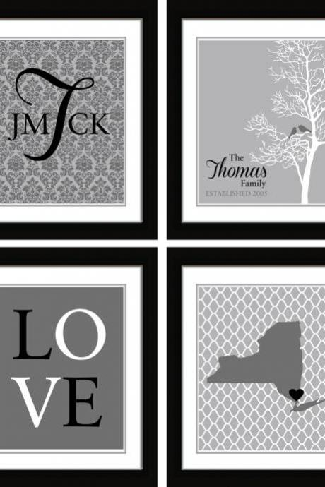 Wall Art// Wedding Gift// Monogram//Mothers day gift//Home Decor//Family tree Art 4-8x10 art prints