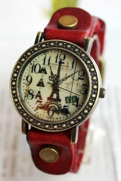 Romantic Eiffel Tower Retro Watch-red