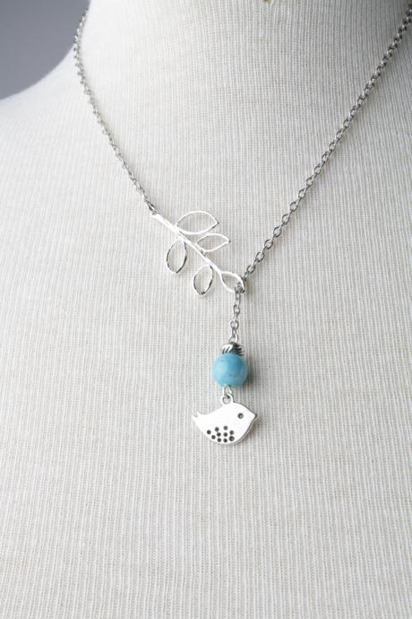 Silver bird and branch lariat necklace with blue fossil stone- silver plated chain- bird jewelry - bird necklace - bird lariat