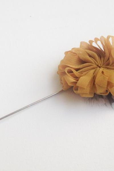 BLOSSOM Feather Mustard Yellow Flower Men's Flower Boutonniere / Buttonhole For Wedding,Lapel Pin,Tie Pin