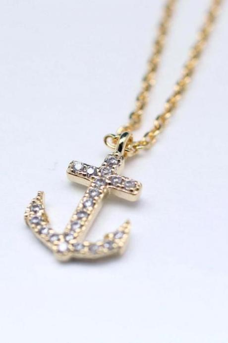 Make a wish cubic zirconia detail anchor pendant necklace in gold
