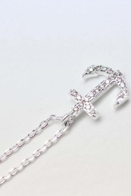 Make a wish cubic zirconia detail anchor pendant necklace in silver
