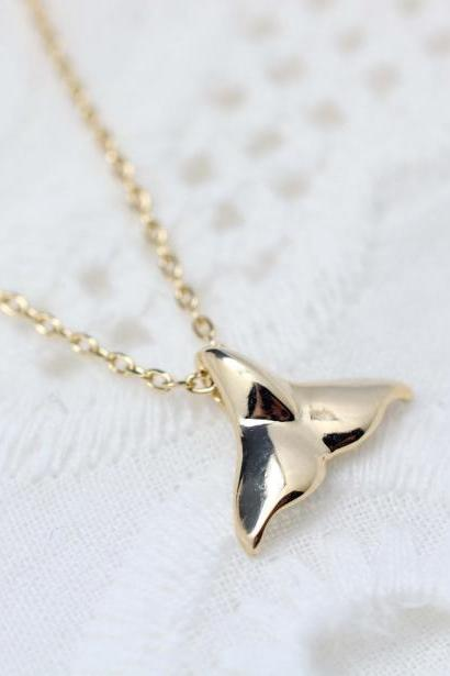 Cute and tiny Whale tail pendant Necklace in gold