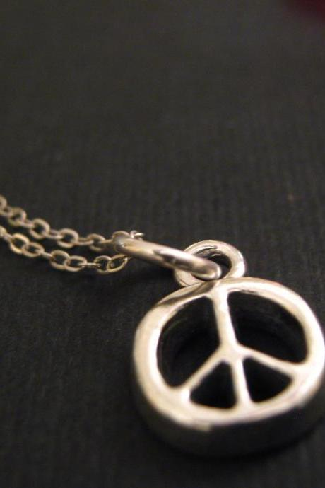 Peace Necklace, Peace Sign Jewelry, Peace Sign Necklace, Sterling Silver Charm Necklace