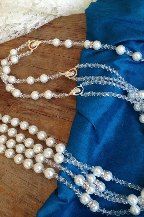 WHITE PEARLS CRYSTAL WEDDING LASSO/ lazo/laso