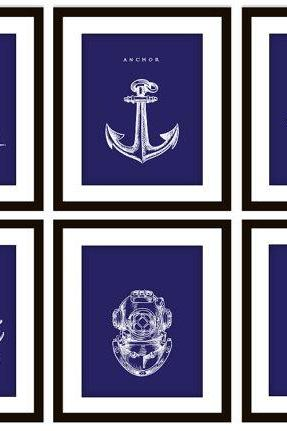 6 Blue Nautical Bedroom or Bathroom Art Prints, ANY color