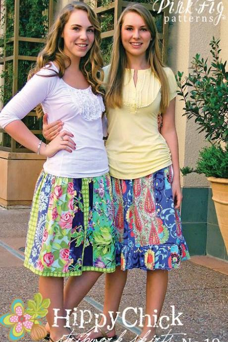Hippy Chick Stripwork Skirt Pattern from Pink Fig Patterns for Teens and Tweens