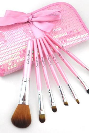 ColorShine High Qulity 7Pcs Pro Makeup Make Up Cosmetic Brush Set Kit w/ Leather Case - Pink