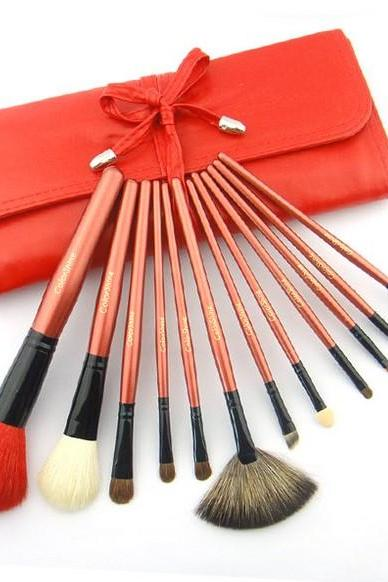 Top Quality Natural Goat hair Colorshine Makeup Brush Set 12 Cosmetic Brush Cosmetic Brush Set Professional Makeup Tools - Red