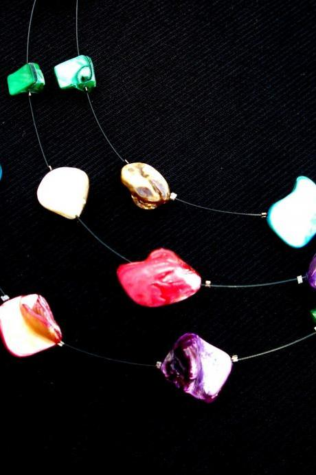 Floating Shell Necklace Bridal Beach Jewelry