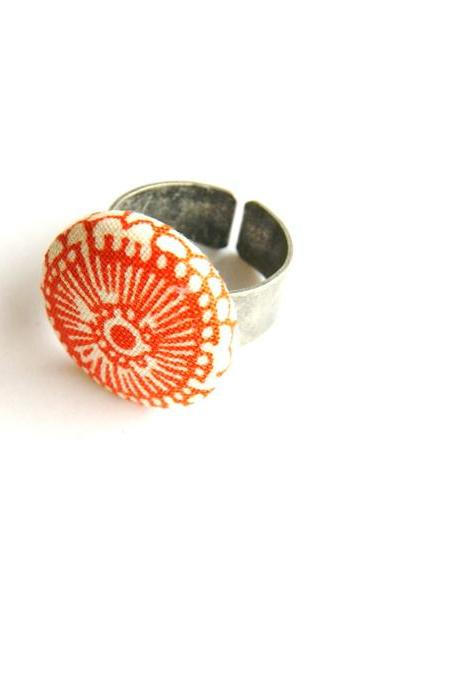 Orange Sunburst Fabric Button Ring