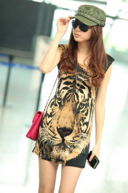 Handsome Tiger Print Cotton Tank Dress