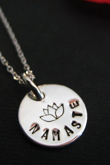 Lotus Flower Necklace, Namaste Jewelry, Personalized Necklace, Yoga Jewelry, Personalized Jewelry, Sterling Silver