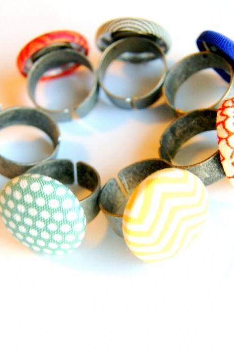 Set of Six Fabric Button Rings - Pick Your Own Styles