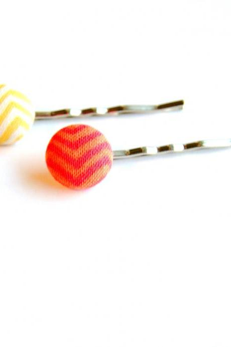 Summer Chevron Fabric Button Bobby Pins