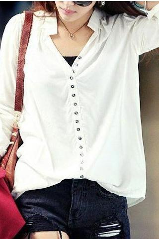 Free Shipping V-Neck Little Single-Breasted Cotton Shirt