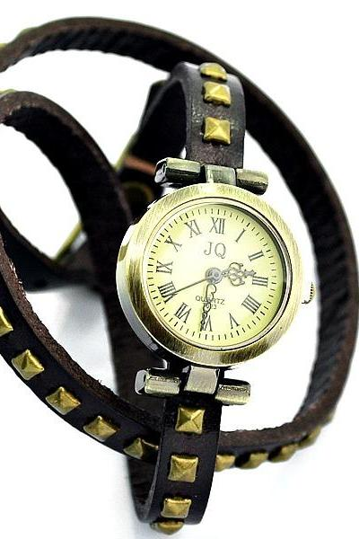 Vintage Round Quartz Rivet Leather Watchband Black Unisex Lady Girl Men Wrist Watch Dark Brown