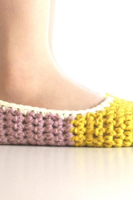 Crochet House Slippers with Felt Pom Pom, Mustard Yellow Dust Pink