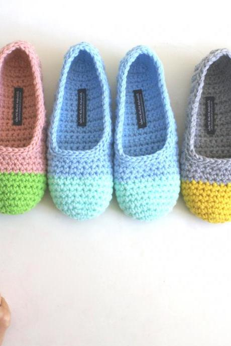 Crochet Slippers for Women in Apple Green and Pink