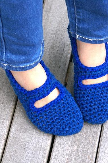 Crocheted Mary Jane House Slippers in Blue, Women's, House Shoes, Slipper Socks