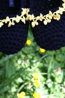 Crochet Slippers with Floral Crochet Lace Border, Women's House Shoes, Black Yellow