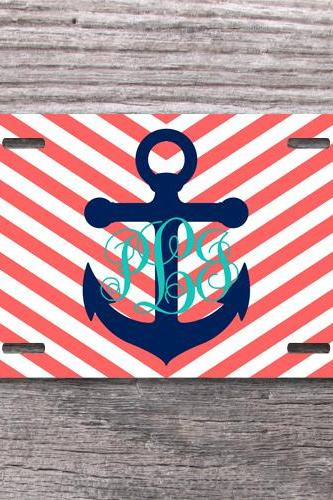 Preppy anchor nautical monogram coral chevron license plate aluminum car tag sweet 16 gift