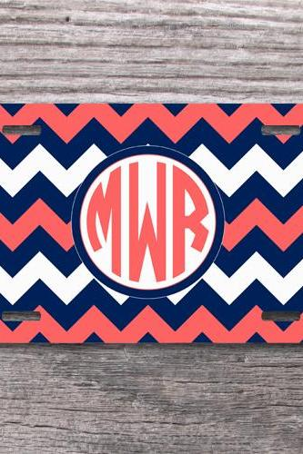 Coral and Navy blue chevron monogram license plate aluminium monogrammed car tag