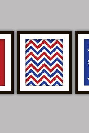 3 Naval Nautical Bathroom Art & Chevron Designs (Anchor, Paddle, Ship's Wheel)