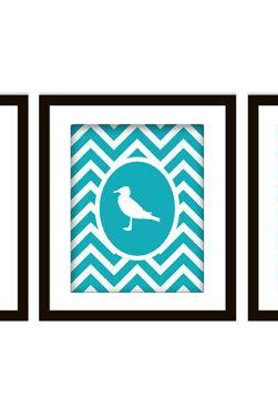 Nautical Themed Chevron Art Print Set of 3 (Anchor, Wheel, Seagul)