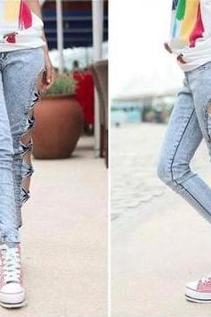 Side of the hollow bow tight jeans