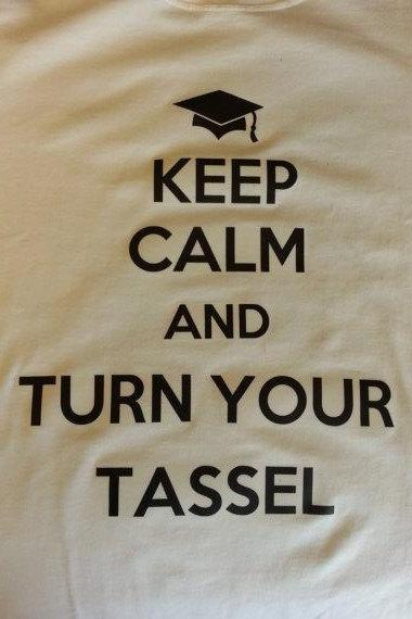 Keep calm and turn your tassel t-shirt/graduation gift/youth and adult size graduation t-shirt/can be personalized