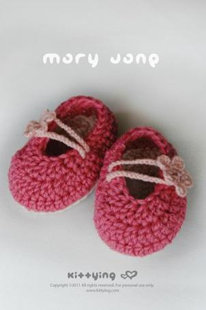 Pinky Red Mary Jane Baby Booties Crochet PATTERN, PDF - Chart & Written Pattern by kittying