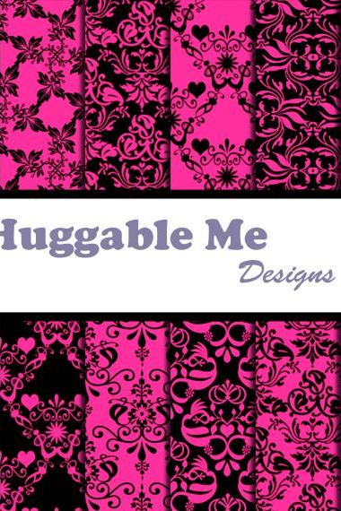 Fuchsia Damask Paper - Black & Hot Pink Digital Damask Designs, Printables for Scrapbook, Wedding, Cards - HMD00066