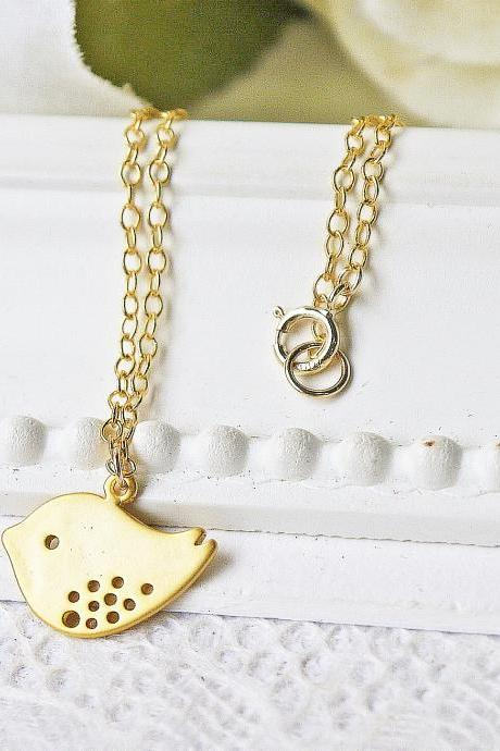Matte Gold Bird Pendant Necklace. 14K Gold Filled Chain Necklace. Dainty Modern Simple