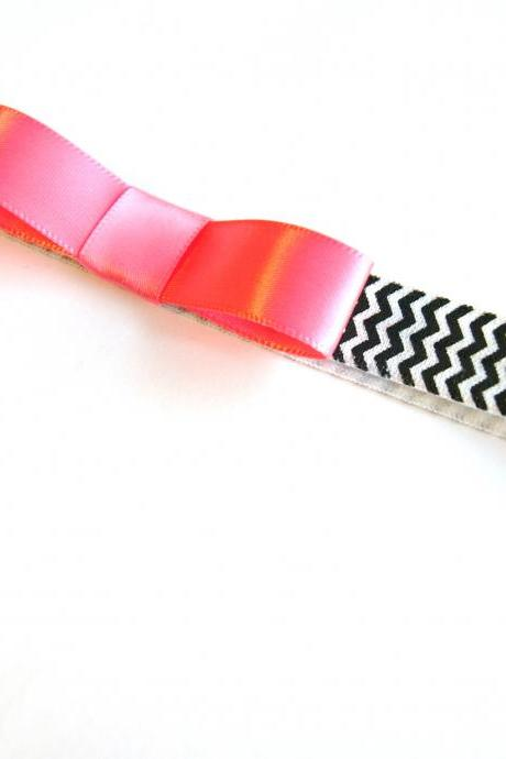 Pink Ribbon Chevron Headband