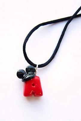 Disney Mickey Mouse Ears Inspired Initial Necklace Red with Black Ears