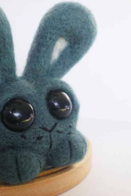 Sage The Bunny - Needle Felted Green/Blue Rabbit Sculpture