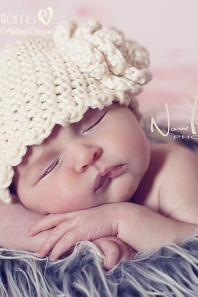 Crochet Hat Pattern Scalloped Edge Beanie Crochet Pattern Newborn to Adult Sizes PDF 143
