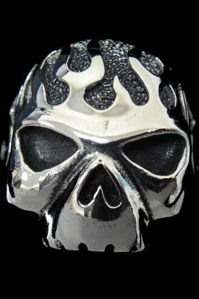 316L Stainless Steel Silver Skull Head Ring for Chopper Motorcycle Biker TR66