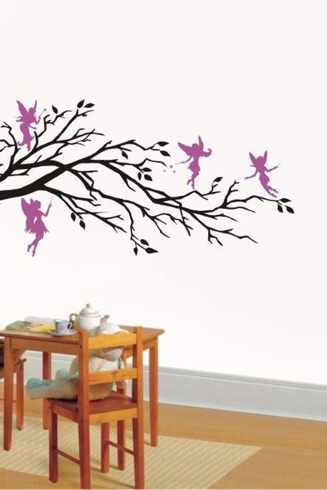 Wall Art Vinyl Decal Fantasy FIVE FAIRIES And BRANCH, Nursery ,Kids Room