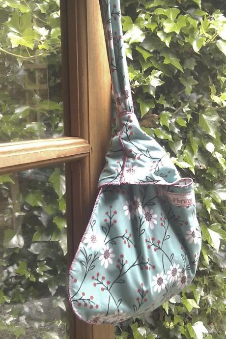 shoulder bag turquoise or hippy flowers tote reversible two for one