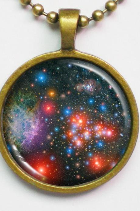 Star Image Necklace - Star Clusters in Milky Way - Galaxy Series