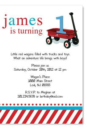 Red Wagon Birthday / Baby Invitation - Custom Colors