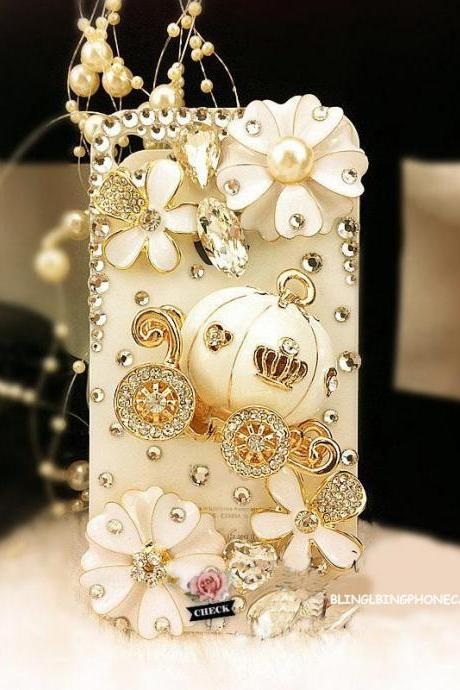 iPhone 4 case,Pumpkin iPhone 4s Case,iPhone 4G case,Floral iPhone 4 Cases,Bling iphone 4 case, Cute iphone 4 case, iPhone 4S bling case White