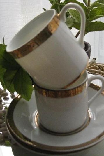 Vintage White Porcelain Demitasse Cups and Saucers Set