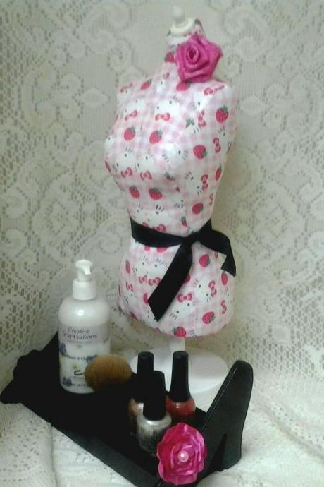Boutique Dress form designs jewelry display, 19' torso great for store front display or home decor. Hello Kitty print.